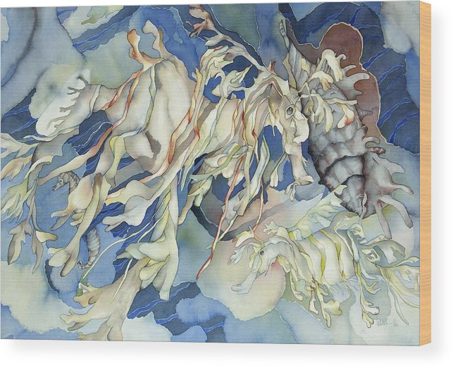 Sealife Wood Print featuring the painting Seadragon Fantasy by Liduine Bekman