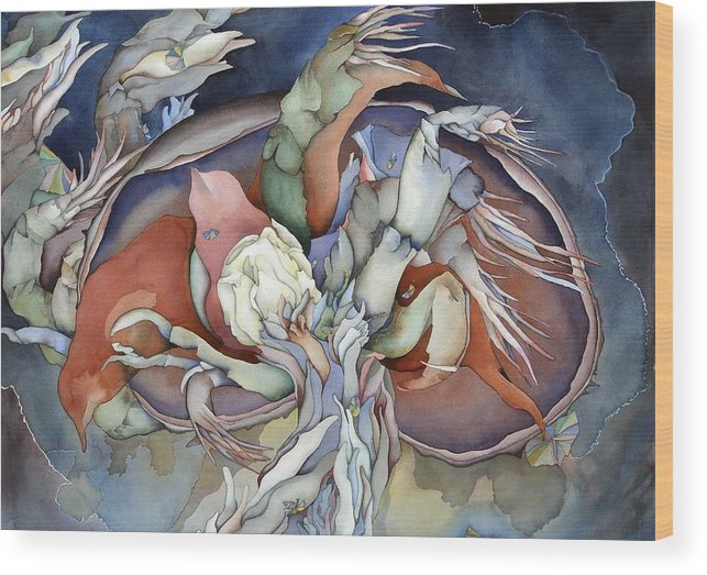 Sealife Wood Print featuring the painting Searching Deep Within by Liduine Bekman