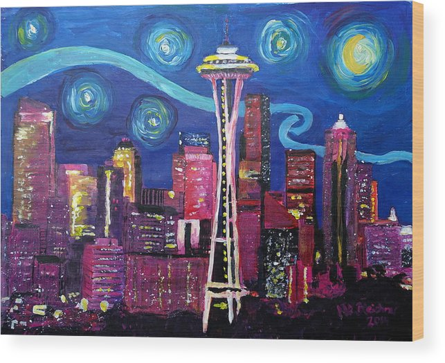 dc0279c47d Starry Night In Seattle - Van Gogh Inspirations With Space Needle And  Skyline Wood Print by M Bleichner
