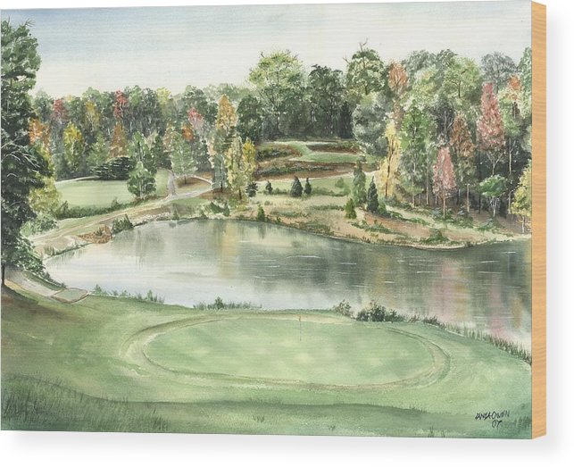 The Trails Wood Print featuring the painting Seventeen Green The Trails Golf Course by Lane Owen