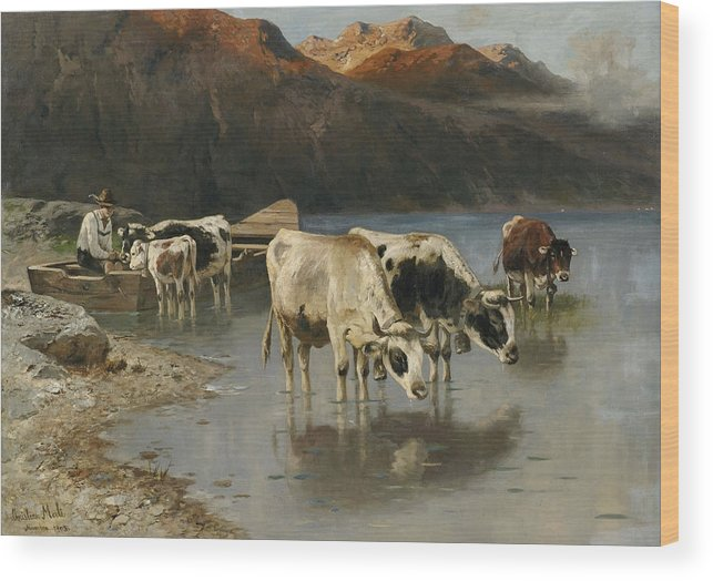 Christian Friedrich Mali Wood Print featuring the painting Shepherd With Cows On The Lake Shore by Christian Friedrich Mali