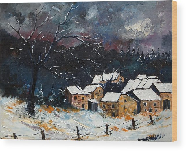 Snow Wood Print featuring the painting Snow 57 by Pol Ledent