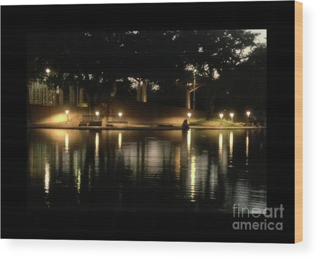 Night In The City Wood Print featuring the photograph Soft Evening At Palmer Pond Poster Black Border No Text by Felipe Adan Lerma
