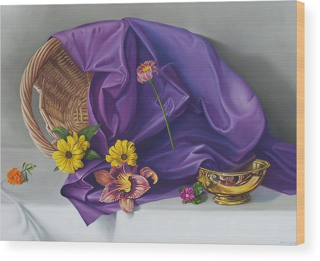 Still Life Wood Print featuring the painting Spring Basket by Arnold Hurley