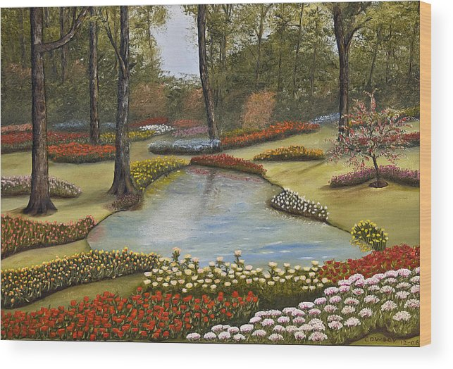 Flowers Wood Print featuring the painting Spring Blooms by Darren Yarborough