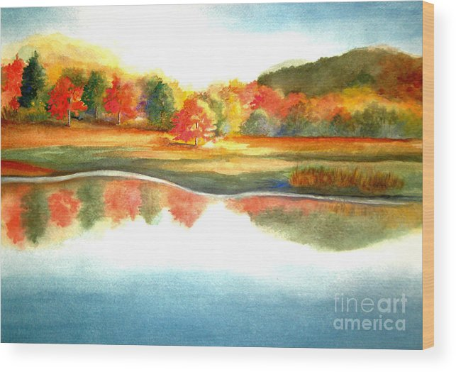 Landscape Wood Print featuring the painting Stanley Park In The Fall by Vivian Mosley