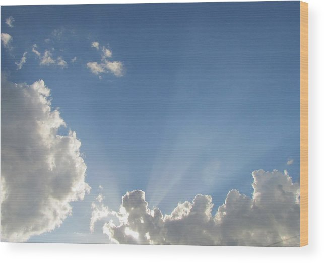 Sky Wood Print featuring the photograph Sun Beaming Thru Clouds by Nancy Hopkins