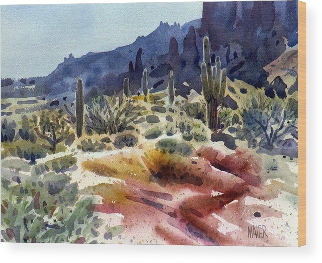 Superstition Mtn. Wood Print featuring the painting Superstition Mountain by Donald Maier