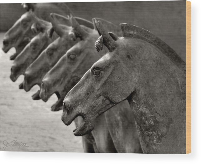 Terracotta Wood Print featuring the photograph Terracotta Horses by Joe Bonita