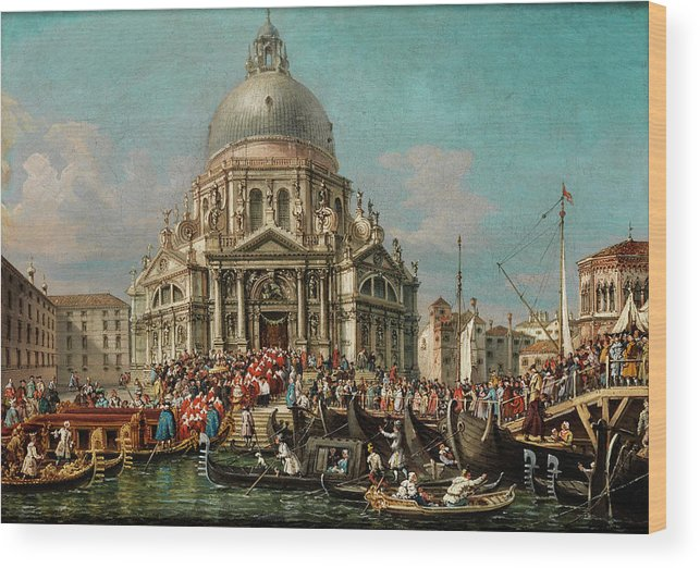 Canal Wood Print featuring the painting The Feast Of The Madonna Della Salute In Venice by Francesco Zanin