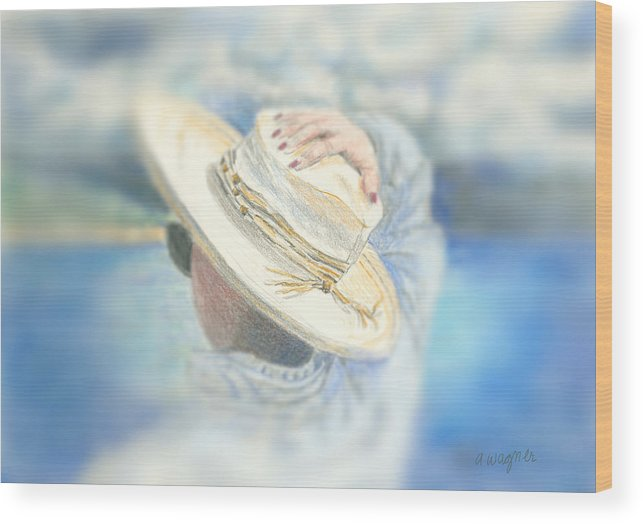 Hat Wood Print featuring the mixed media The Hat by Arline Wagner