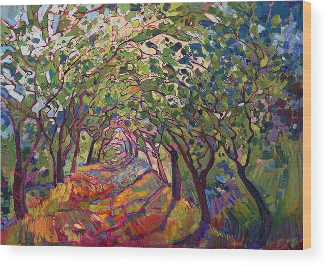 Path Wood Print featuring the painting The Path by Erin Hanson