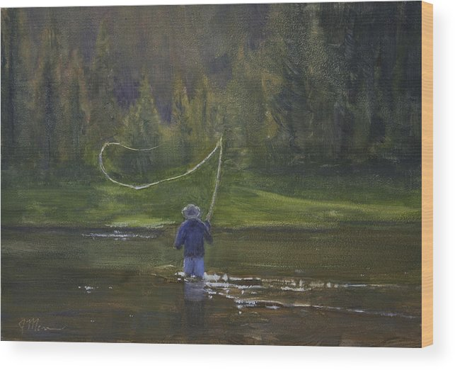 Water Wood Print featuring the painting Time Well Spent by Joe Mancuso