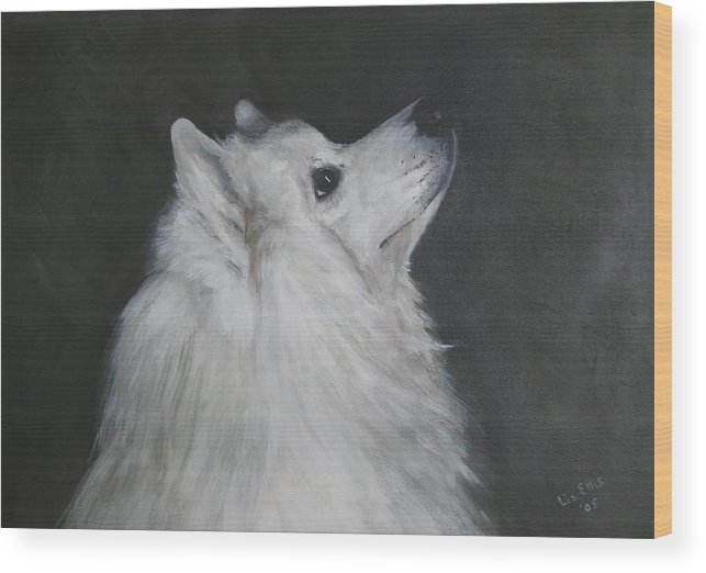 Samoyeds Wood Print featuring the painting To Live With A White Dog by Elizabeth Ellis