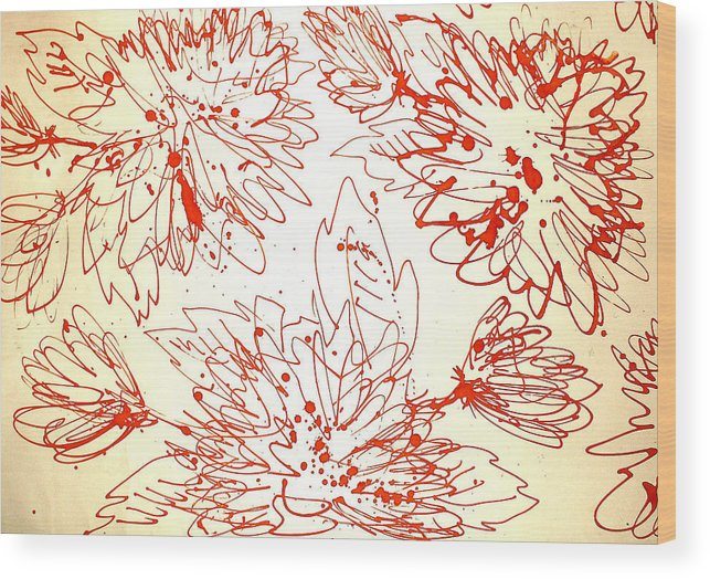 Flower Wood Print featuring the drawing To The Center by Kseniya Nelasova