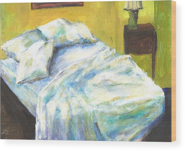 Bed Wood Print featuring the painting Tribute To Marc by Randy Sprout