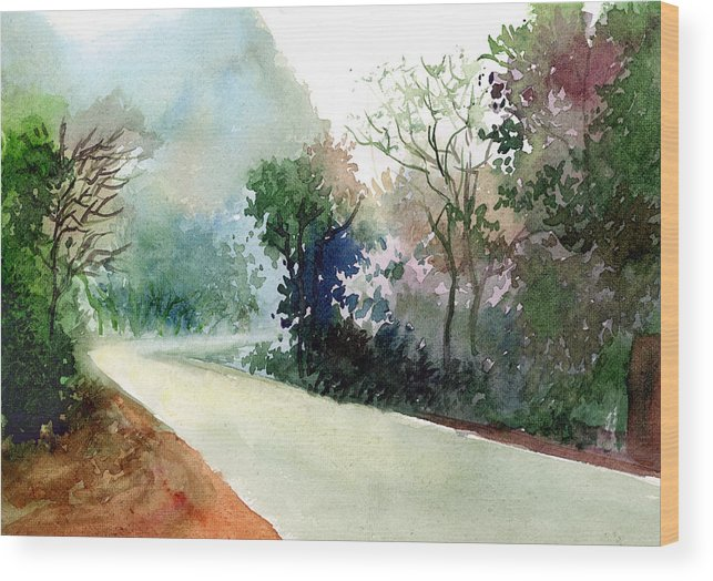 Landscape Water Color Nature Greenery Light Pathway Wood Print featuring the painting Turn Right by Anil Nene