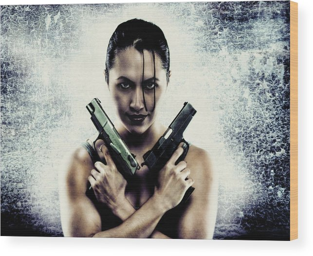 Photograph Wood Print featuring the photograph Lara Croft by Reynaldo Williams