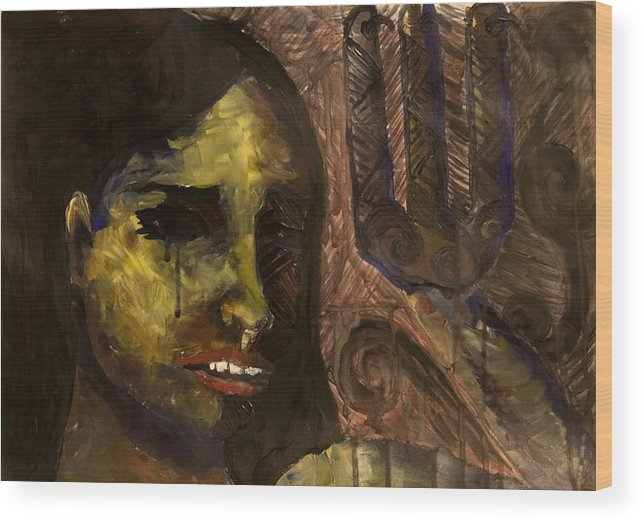 Girl Wood Print featuring the painting Untitled by Michelle Key