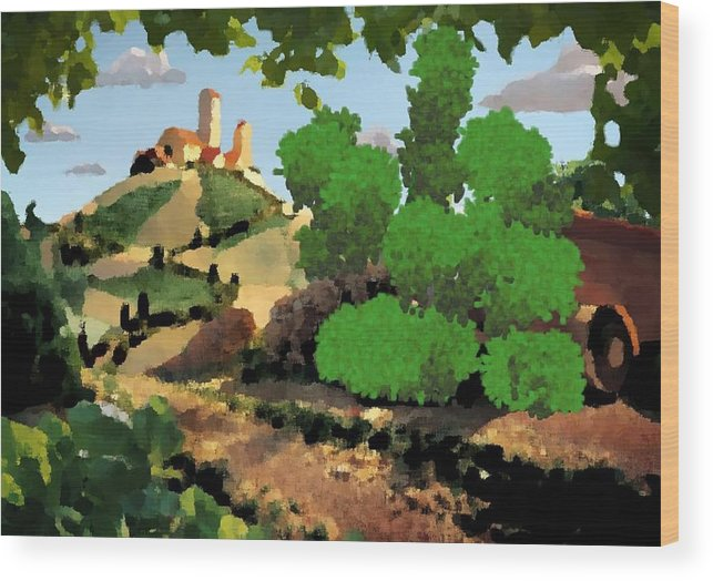 Village Old Road.trees.bushes.hill.littlt Tower.houses.farm.sky.clouds Wood Print featuring the digital art Village. Tower On The Hill by Dr Loifer Vladimir