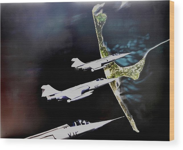 F 104 Wood Print featuring the painting V.i.p. Attack by Eckhard Besuden
