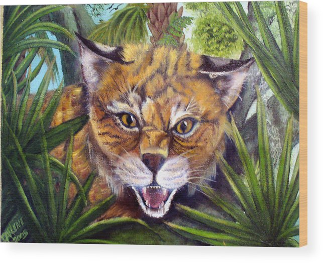 Bobcat Wood Print featuring the painting Watching Florida Bobcat by Darlene Green