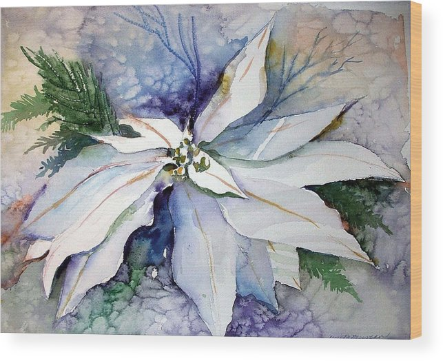 Floral Wood Print featuring the painting White Poinsettia by Mindy Newman