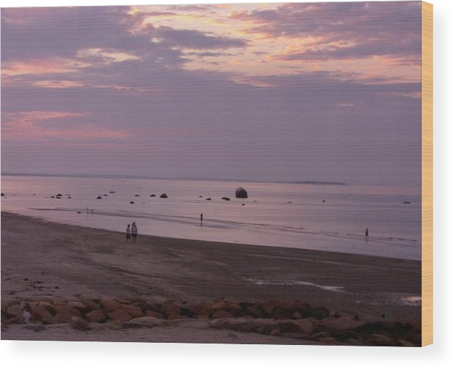 Sunset Wood Print featuring the photograph Whitehorse Beach - Sunset by Nancy Ferrier