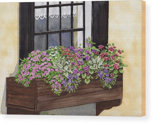 Flowers Wood Print featuring the painting Window Box by Linda Hoover