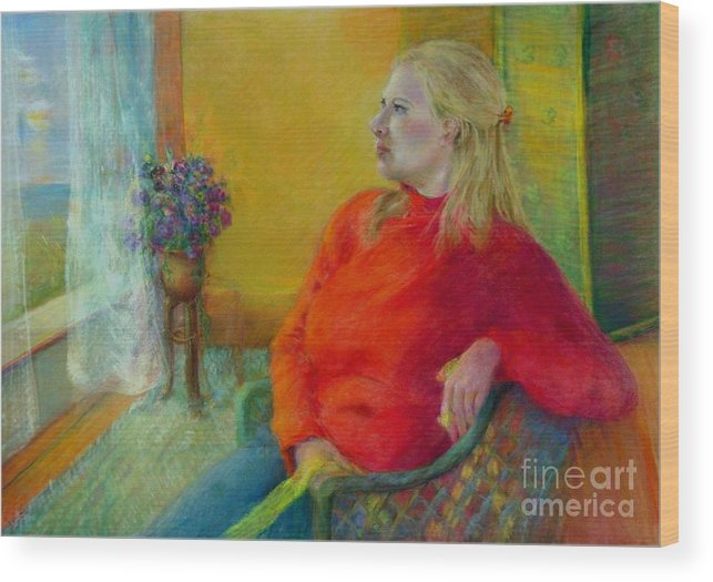 Portrait Wood Print featuring the painting Woman In Red   Copyrighted by Kathleen Hoekstra