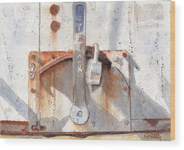 Semi Wood Print featuring the painting Work Trailer Lock Number One by Ken Powers