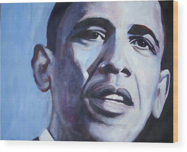 Barack Obama Wood Print featuring the painting Yes We Can by Fiona Jack