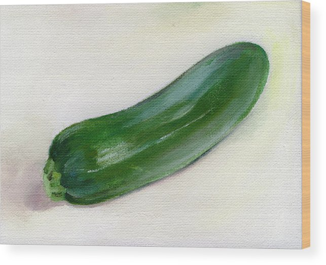 Food Wood Print featuring the painting Zucchini by Sarah Lynch