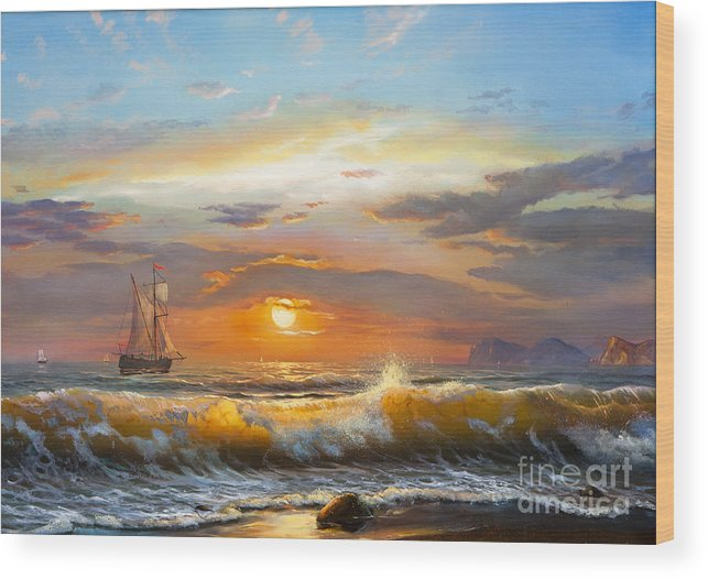Fine Arts Wood Print featuring the photograph Oil Painting On Canvas , Sailboat by Liliya Kulianionak