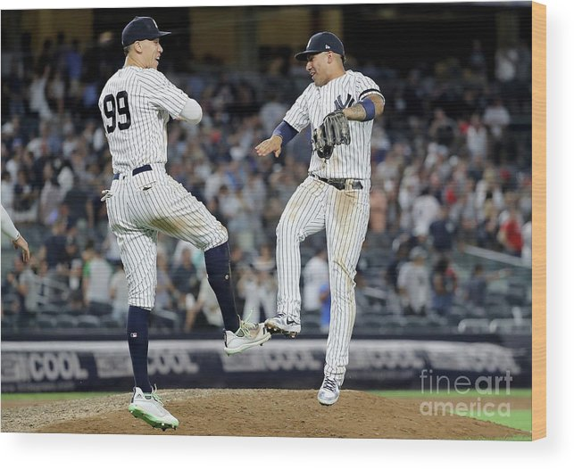 People Wood Print featuring the photograph Boston Red Sox V New York Yankees - 6 by Elsa