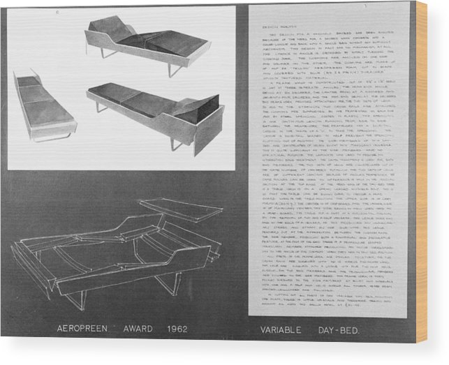Chaise Longue Wood Print featuring the photograph 60s Recliner by Chaloner Woods