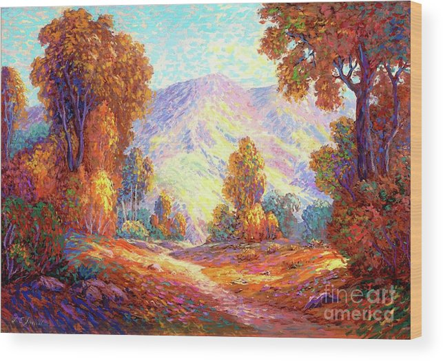 Woodland Wood Print featuring the painting Autumn Sunshine by Jane Small
