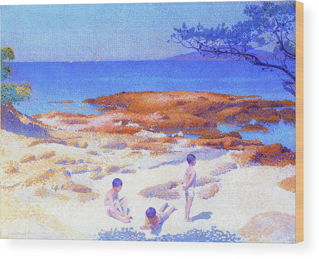 Beach At Cabasson Wood Print featuring the painting Beach At Cabasson - Digital Remastered Edition by Henri Edmond Cross