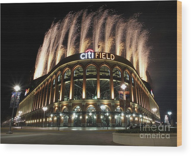 American League Baseball Wood Print featuring the photograph Miami Marlins V New York Mets by Christopher Pasatieri
