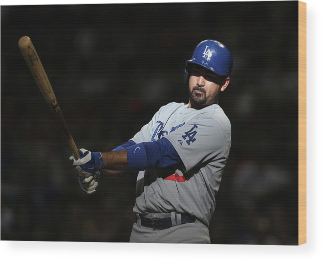 Ninth Inning Wood Print featuring the photograph Adrian Gonzalez by Christian Petersen