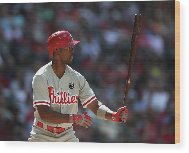 National League Baseball Wood Print featuring the photograph Jimmy Rollins by Christian Petersen