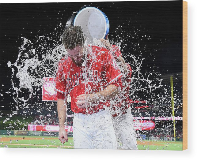 Three Quarter Length Wood Print featuring the photograph Mike Trout by Jayne Kamin-oncea