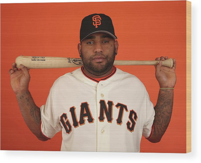 Media Day Wood Print featuring the photograph Pablo Sandoval by Christian Petersen