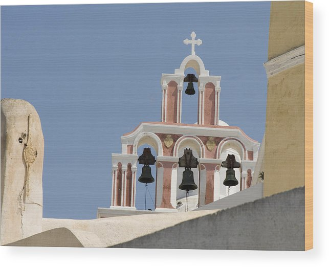 Greece Wood Print featuring the photograph Bells Of Santorini by Charles Ridgway