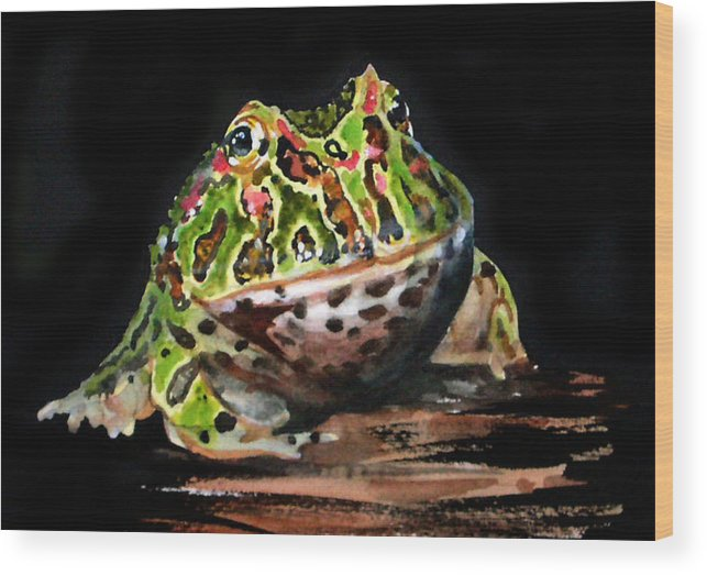 Bells Horned Frog Wood Print featuring the painting Puffy by Gina Hall