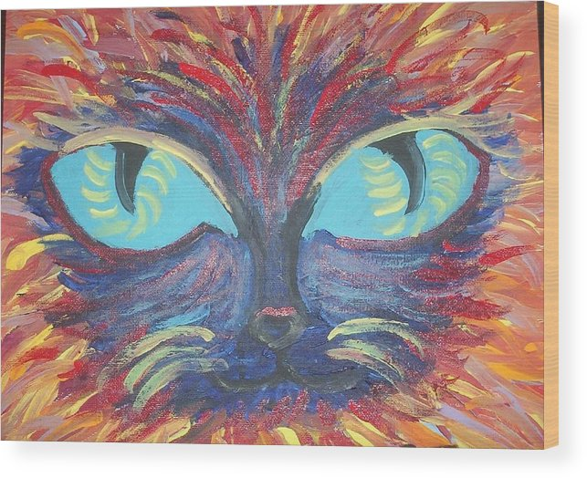 Cats Wood Print featuring the painting ICU by Lindsay St john