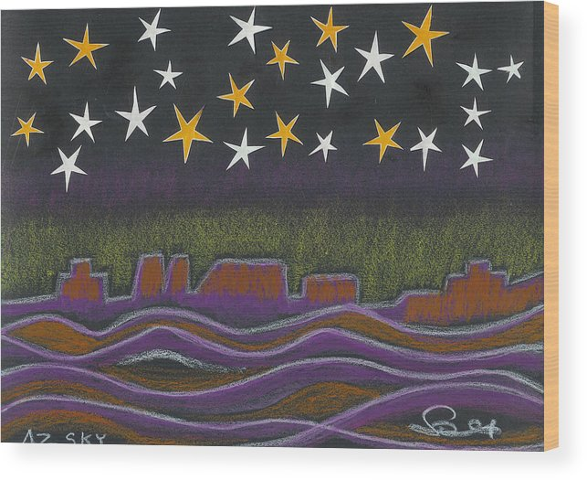 Sky Wood Print featuring the drawing Twighlight Over Arizona Horizon by Ingrid Szabo