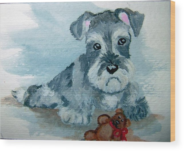 Schnauzer Wood Print featuring the painting Me And My Teddy by Tammy Brown