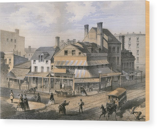 New Wood Print featuring the drawing New York Corner Of Pearl Street by Mary Evans Picture Library