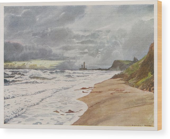 Whitby Wood Print featuring the drawing Whitby, Yorkshire A Deserted Beach by Mary Evans Picture Library